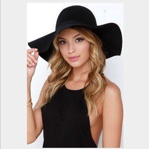 BCBG Black Floppy Wool Hat